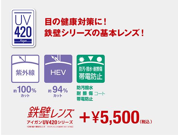鉄壁レンズ アイガンUV420 眼の健康対策(UV+HEVカットレンズ) オプション追加料金:5,500円(税込)
