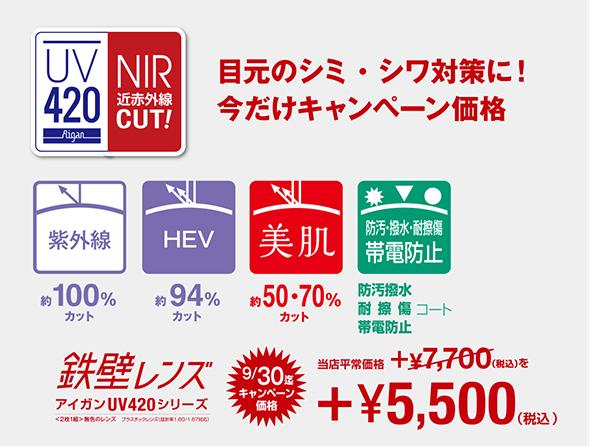 鉄壁レンズ アイガンUV420 目元の美肌対策(UV+HEV+近紫外線カットレンズ) オプション追加料金:5,500円(税込)※2021年9月30日までのキャンペーン価格 ※平常価格:7,700円(税込)