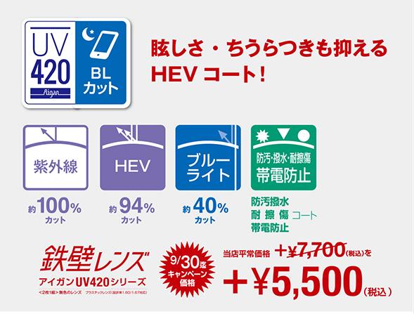 鉄壁レンズ アイガンUV420 眼の健康対策+ブルーライトカット(UV+HEVカットレンズ+ブルーライトカット) オプション追加料金:7,700円(税込)