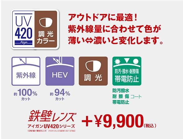 鉄壁レンズ アイガンUV420 調光レンズ(UV+HEVカットレンズ) カラー:グレー・ブラウン オプション追加料金:9,900円(税込)